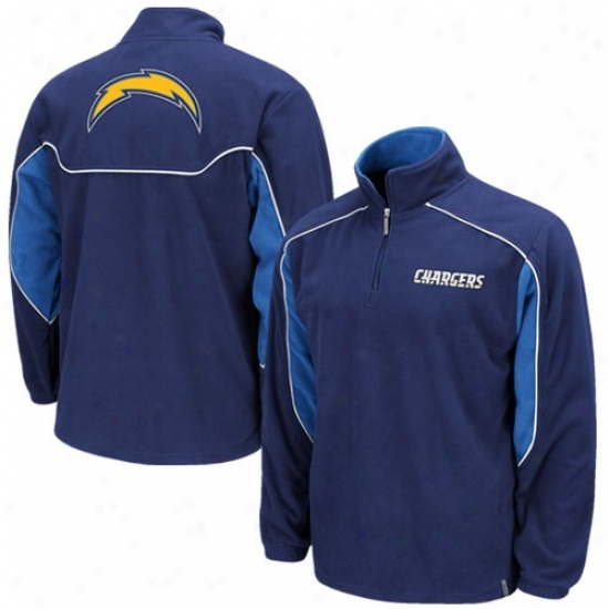 Sandiego Charger Hoodie : Reebok Sandiego Charger Navy Blue Final Score 1/4 Zip Pullover Hoodie Jacket