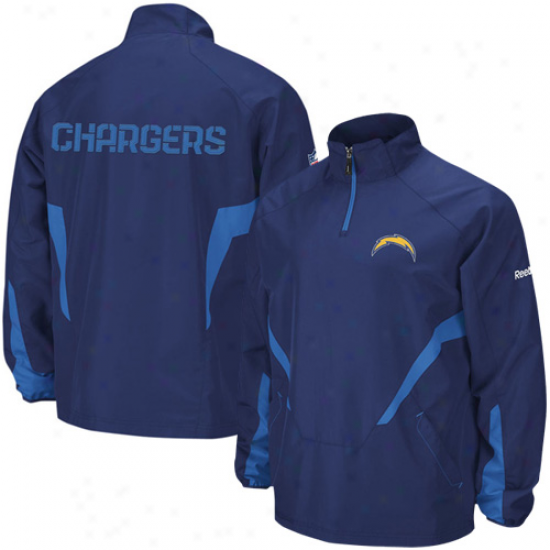 Sandiego Charger Jacket : Reebok Sandiego Charger Navy Blue Hot Sideline 1/4 Zip Pullover Wind Jacket