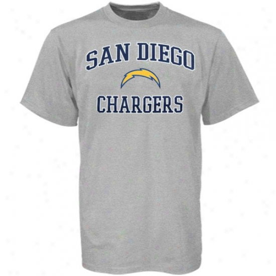 Sandiego Charegr T Shirt : Sandiego Charger Ash Heart & Soul T Shirt