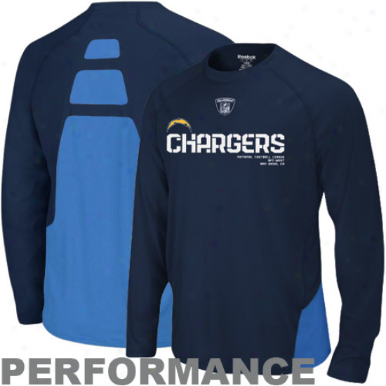 Sandiego Charger Tshirt : Reebok Sandiego Charger Navy Blue Conflict Sideline Performance Long Sleeve Tshirt