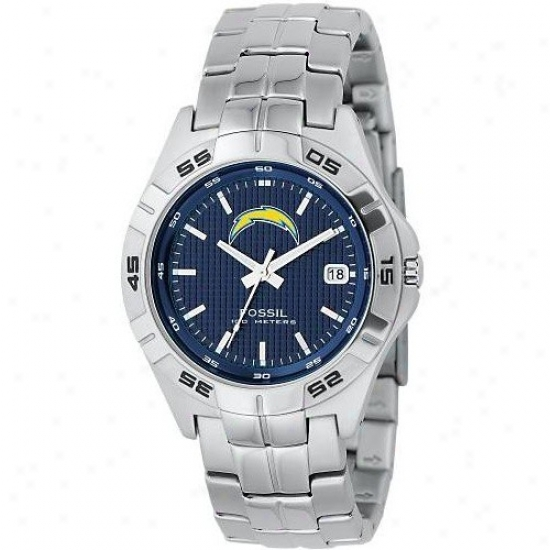 Sandiego Charger Wrist Watch : Fossil Sandiego Charger Men's Stainless Steel Analog 3 Hand Date Wrist Watch