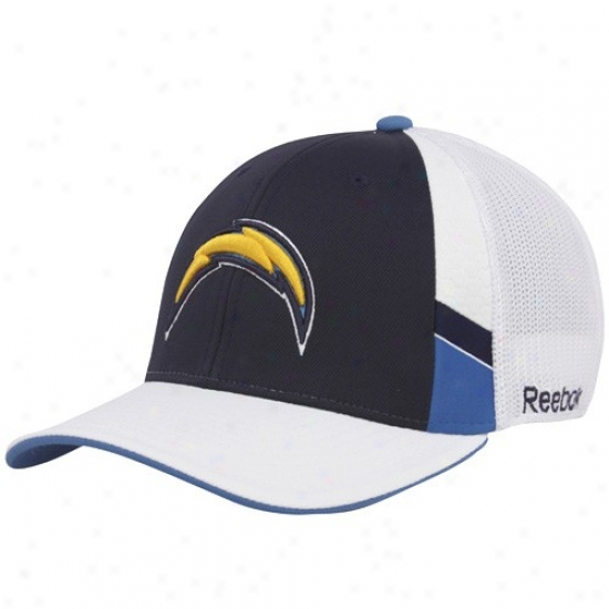 Sandiego Chargers Gear: Reebok Sandiego Chargers Navy Blue-white Structured Mesh Back Flex Fit Cardinal's office