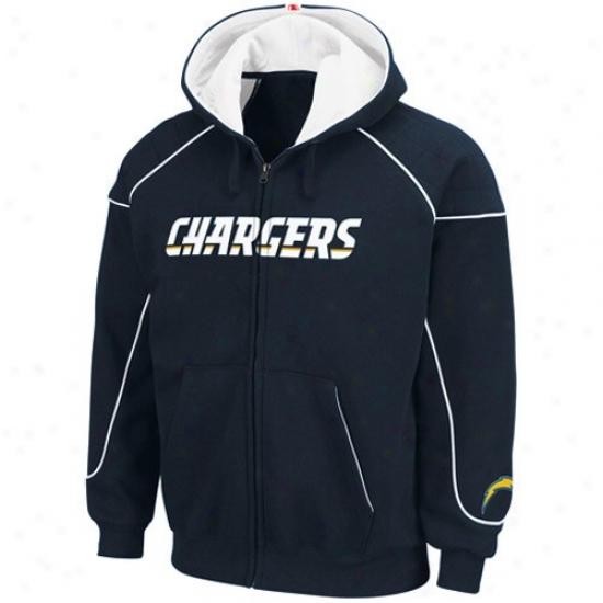Sandiego Chargers Sweatshirts : Sandiego Charrgers Navy Blue Overtime Victory Full Zip Sweatshirts