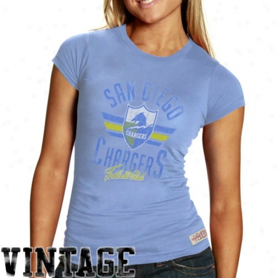 Sandiego Chargers T-shirt : Mitchell & Ness Sandiego Chargers Ladies Sky Blue Juniors Vintage Graphic Premium T-shirt