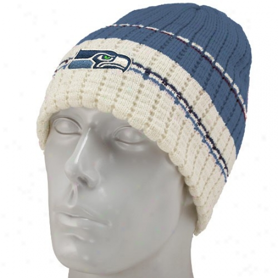 Sea Hawks Cap : Reebok Sea Hawks Pacific Blue Team Stripe Knit Beanie