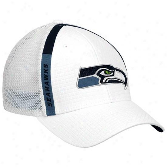Sea Hawks Hats : Re3bok Sea Hawks White Structured Mesh Flex Hats