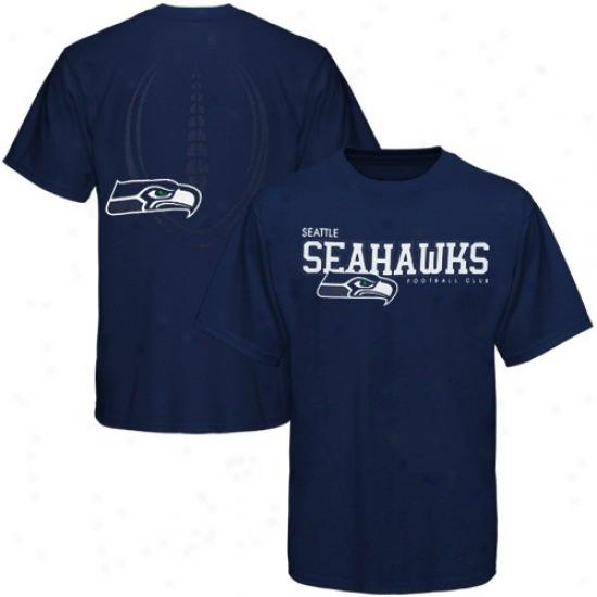Seahawk Attire: Reebok Seahawk Navy Blue Ballistic T-shirt