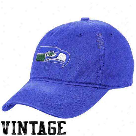 Seahawk Cap : Reebok Seahawk Noble Blue Heat Flex Fit Vintage Cap