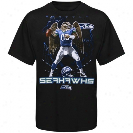 Seahawk T-shirt : Seahawk Black The Quarterback T-shirt