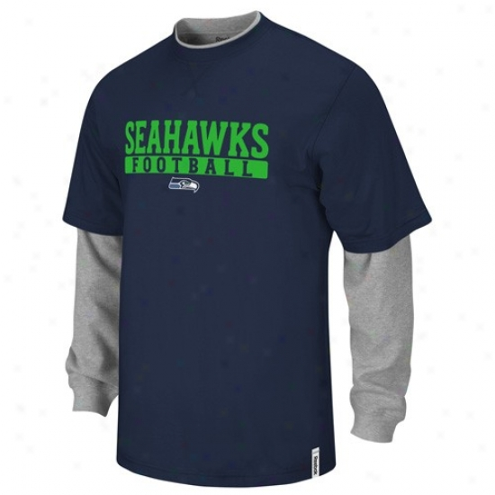 Seahawk Tshifts : Reebok Seahawk Navy Blue-gray Splitter Double Layer Tshirts