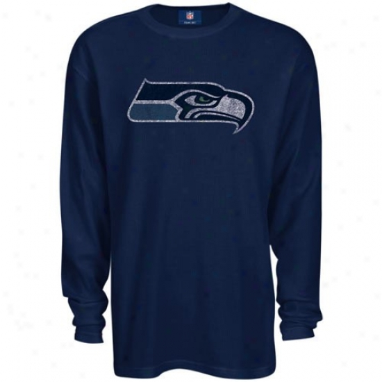 Seahawks Attire: Reebok Seahawks Navy Blue Thermal Long Sleeve Top