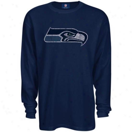 Seahawks Attire: Reebok Seahawks Navy Blue Thermal Long Sleeve Top