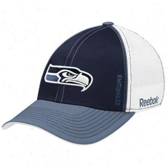 Seahawks Caps : Reebok Seahawks White-navy Blue Loopers Flex Fit Caps