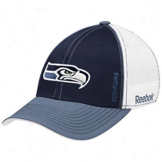 Seahawks Caps : Reebok Seahawks White-navy Blue Loopers Flex Fit Caps
