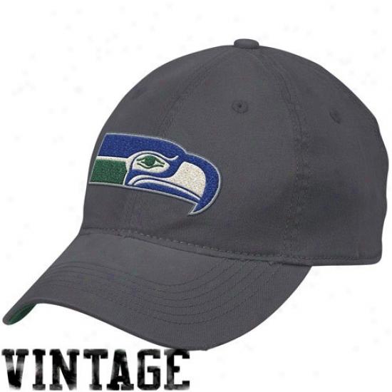 Seahawks Gear: Reebok Seahawks Slate Blue Retro Distressed Slouch Flex Fit Hat