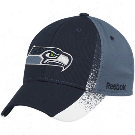 Seahawks Hats : Reebok Seahawks Navy Blue-pacific Blue Spray Paint Structured Flex Fit Hats