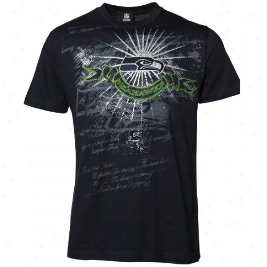 Seahawks T-shirt : Seahawks Navy Blue Team Shine Ii T-shirt