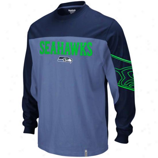 Seahawks Tshirts : Reebok Seahawks Navy Blue-pacific Blue Arena Long Sleeve Tshirts