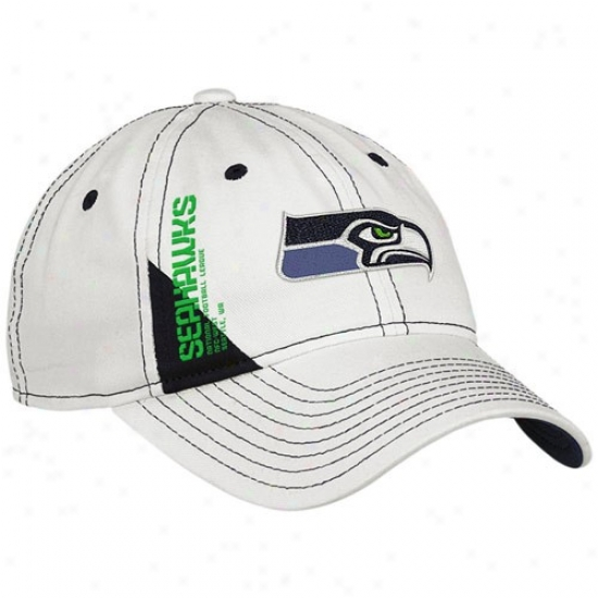Seattle Sea Hawk Caps : Reeb0k Seattle Sea Hawk Ladies White Official 2010 Drawing Day Adjustable Caps