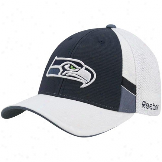 Seattle Sea Hawk Hats : Reebok Seattle Sea Hawk Navy Blue-white Structured Mesh Back Flex Fit Hats