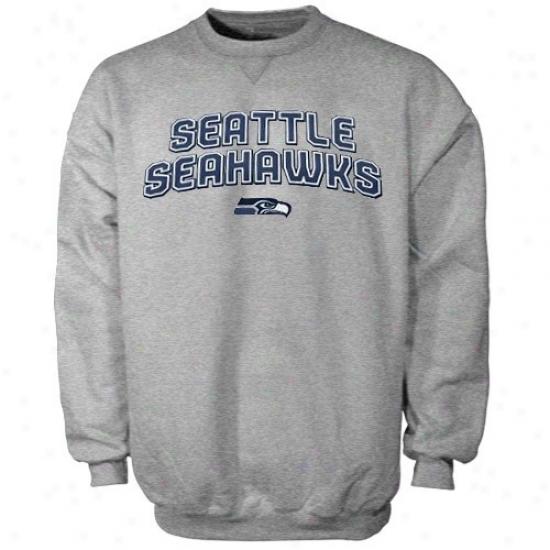 Seattle Sea Hawk Hoodies : Reebok Seattle Sea Hawk Ash Double Arch Crew Hoodies