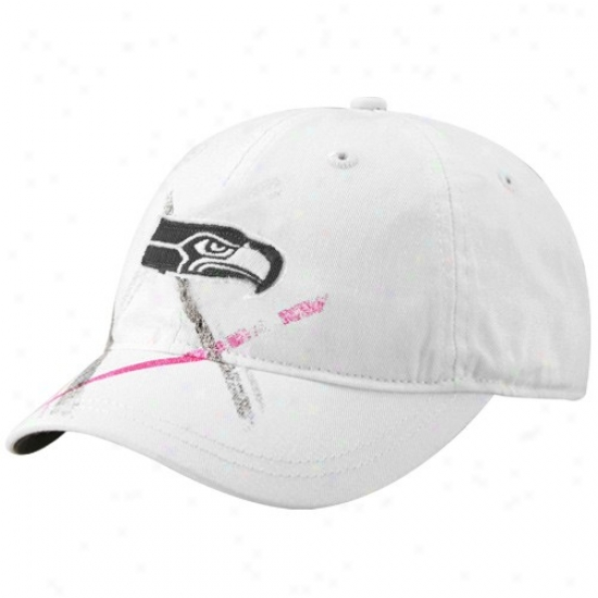 Seattle Sea Hawk Merchandise: Reebok Seattle Sea Hawk Ladies White Pink Plaid Adjustabel Slouch Hat
