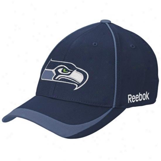 Seattle Sea Hawks Hats : Reebok Seattle Sea Hawks Navy Blue Blower Stretch Fit Hats
