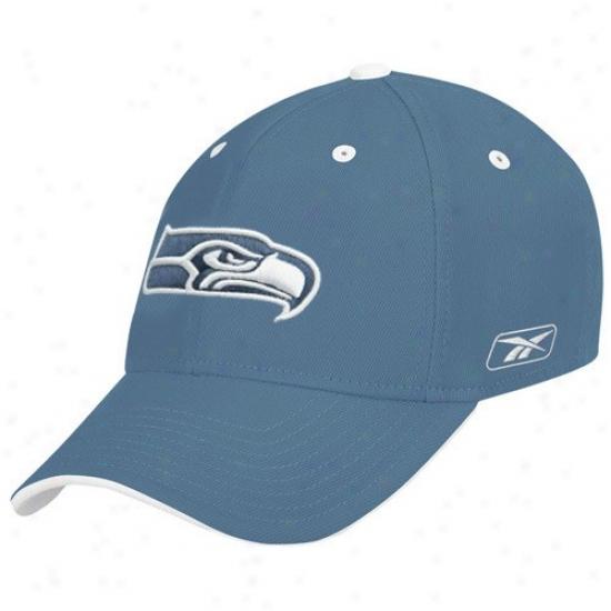 Seattle Sea Hawks Merchandise: Reebok Seattle Ocean Hawks Blue Structured Flex Hat
