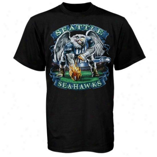 Seattle Sea Hawks Tees : Seattle Sea Hawks Black Banner Short Sleeve Tees
