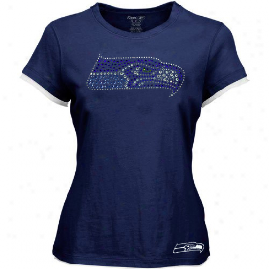 Seattle Seahawk Apparel: Reebok Seattle Seahawk Ladies Ships Azure Rhinestone Logo Prekium T-shirt