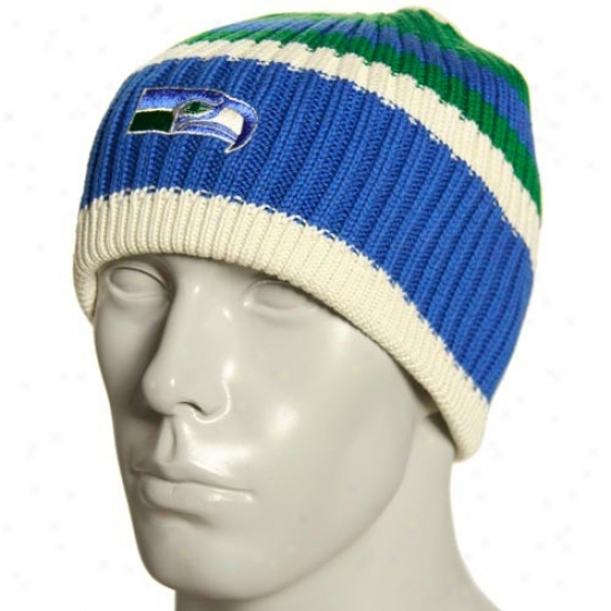 Seattle Seahawk Hats : Reebok Seattle Seahawk Natural Team Color Striped Knit Beanie