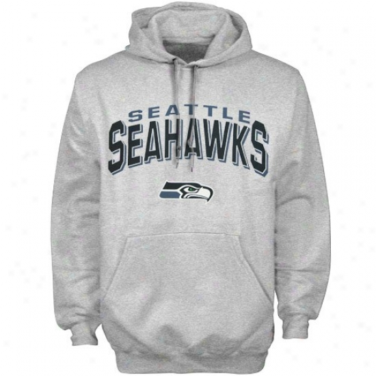 Seattle Seahawk Sweatshirts : Reebok Seattle Seahaw Ash Goal Line Sweayshirts