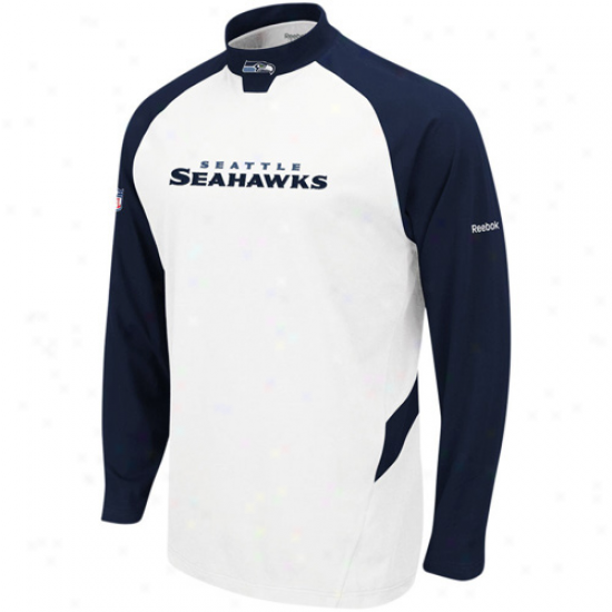 Seattle Seahawk T-shirt : Reebok Seattle Seahawk White Sideline Mock Neck T-shirt