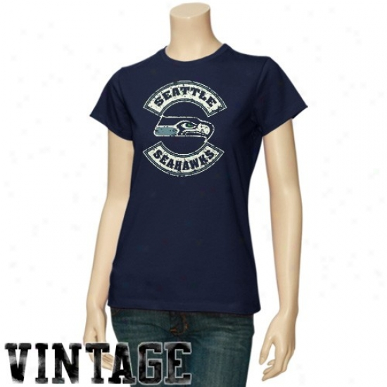 Seattle Seahawk Tshirts : Seattle Seahawk Ladies Navy Blue Basic Round Logo Vintage Tshirts
