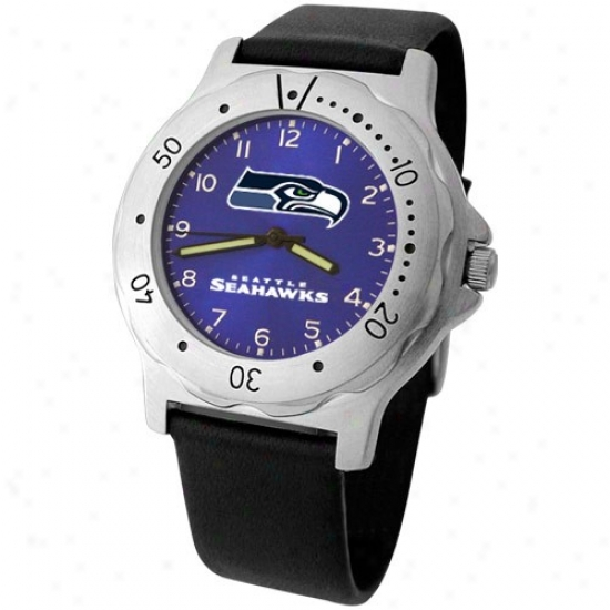 Seattle Seahawk Watches : Seaytle Seahawk Men's Bllack Leather Team Player Watches
