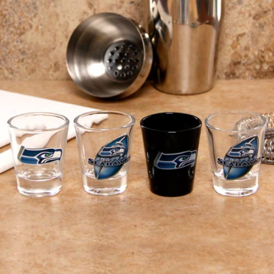 Seattle Seahawks 4-pack Enhahced High Definition Purpose Shot Glass Set