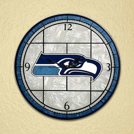 Seattle Seahawks Art-glass Clock