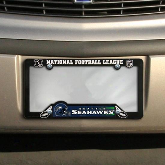 Seattle Seahawks Black Plastic Licenes Plate Frame