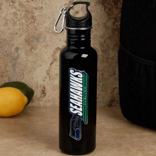Seattle Seahawks Black Stainless Steel Water Bottle