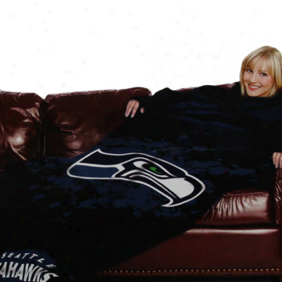 Seattle Seahawks Black Team Logo Print Unisex Comfy Throw