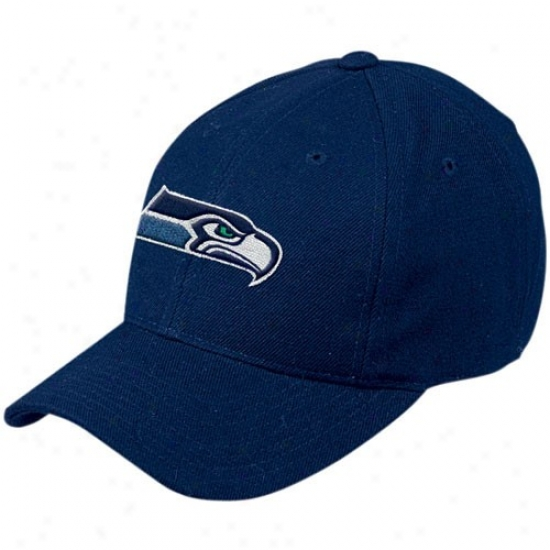 Seattle Seahawks Cap : Reebok Seattle Seahawks Pacific Blue Basic Logo Wool Blend Cap