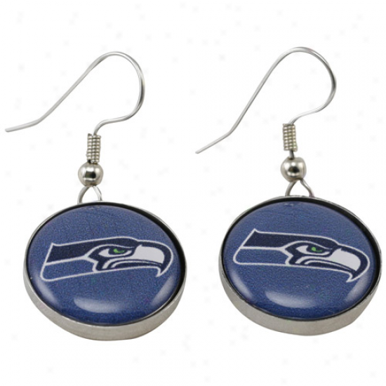 Seattle Seahawks Enamel Logo Charm Drop Earrings