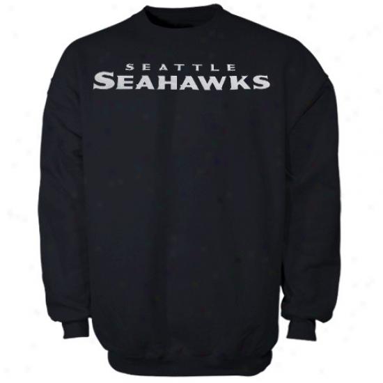 Seattle Seahawks Hoodys : Seattle Seahawks Navy Blue Classic Crew Iii Hoodys