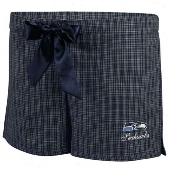 Seattle Seahawks Ladies Navy Blue Plaid Monday Night Football Boxer Shorts