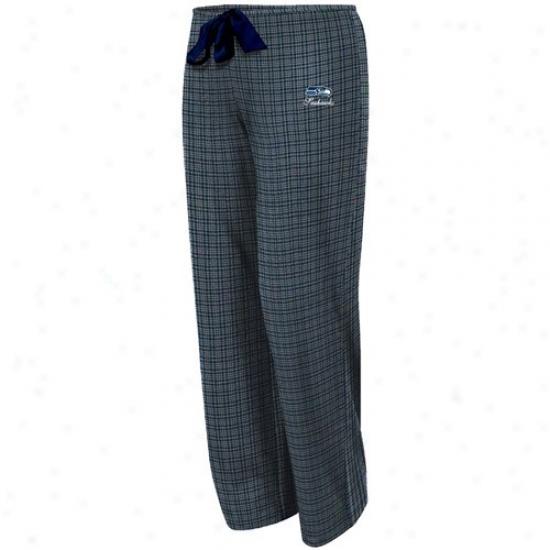 Seattle Seahawks Ladies Navy Blue Plaid Monday Night Football Pajama Pants