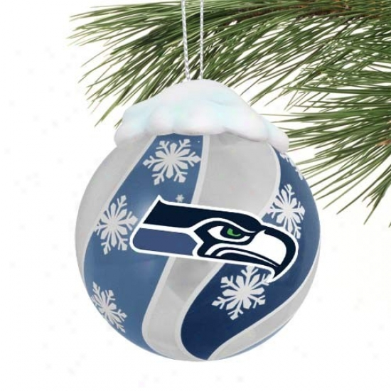 Seattle Seahawks Light-up Glass Ornament