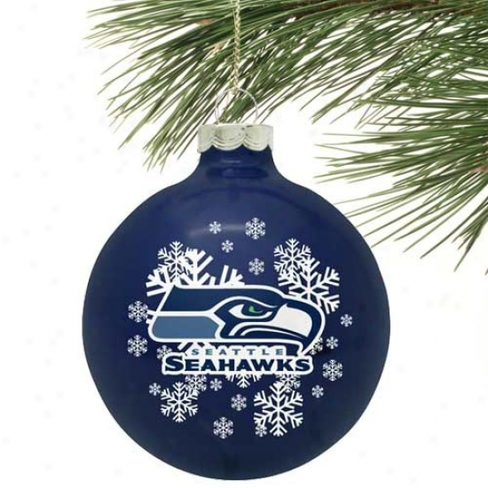 Seattle Seahawks Pacific Blue Snowflake Glass Ornament