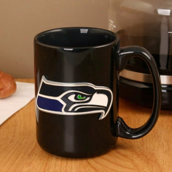 Seattle Seahawks Pewter Logo Wicked Ceramic 15 Oz. Coffee Mjg