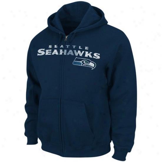 Seattle Seahawks Sweat Shirt : Seattle Seahawks Navy Blue Touchback Iii Full Zip Sweat Shirt