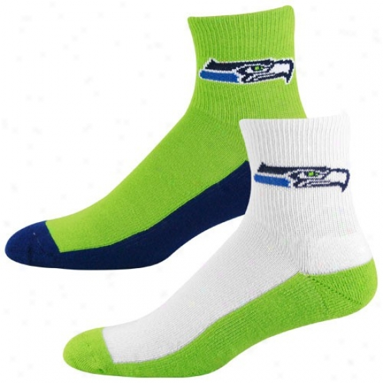 Seattle Seahawks Tri-color Two-pack Quarter Socks